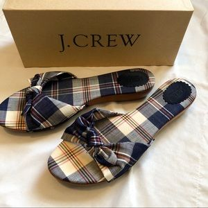 J. Crew Plaid Tropez Wood Slide Sandals - Size 9